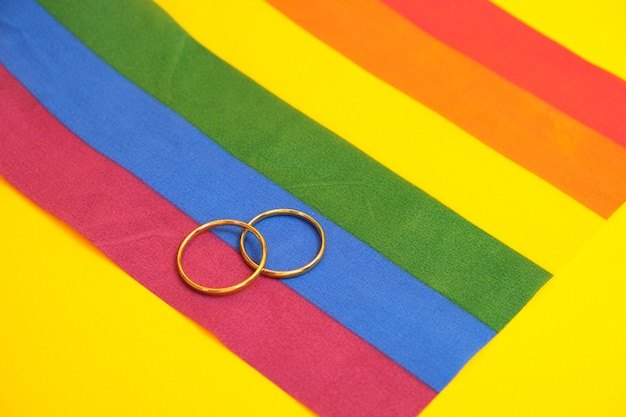 Wedding rings on lgbt flag, yellow background, copy space