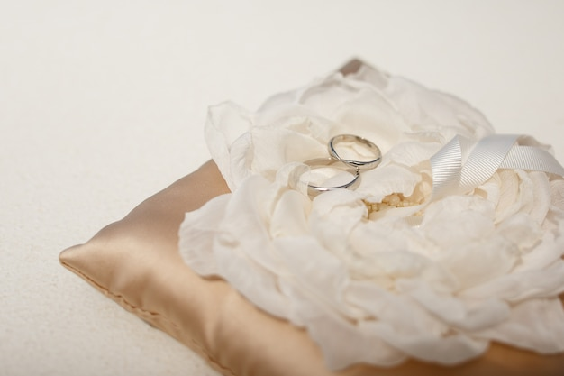 Wedding rings made of white gold lie on the cloth flower