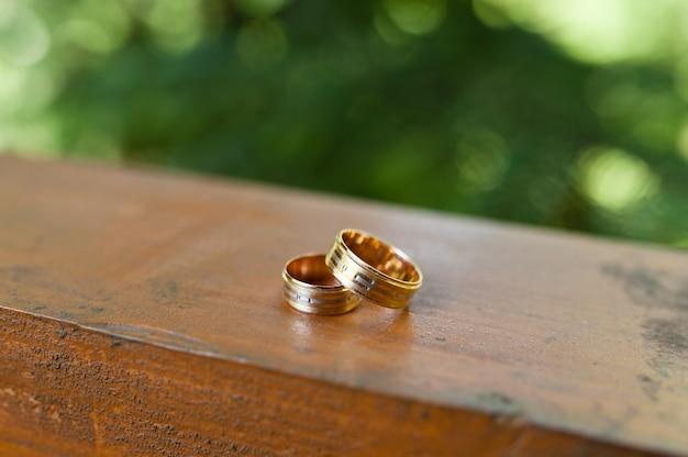Обручальные кольца на дереве