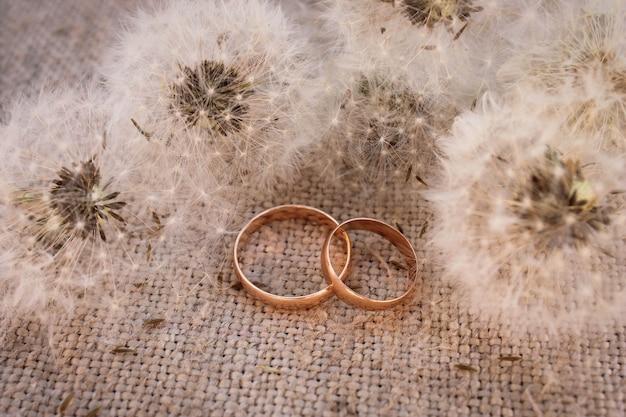Обручальные кольца на фоне одуванчиков