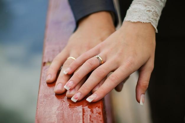 Обручальные кольца на руках жениха и невесты крупным планом