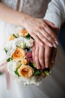 新婚夫婦の手に結婚指輪