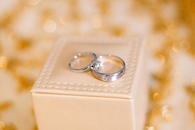 Wedding rings preparation for wedding concept.