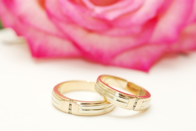Wedding rings and rose on white