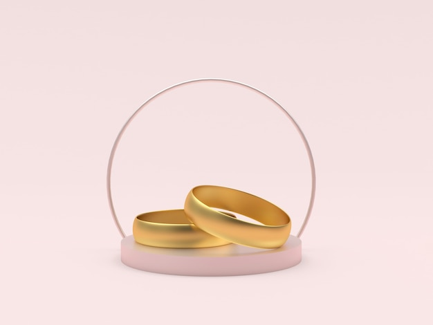 Wedding rings on a round stand