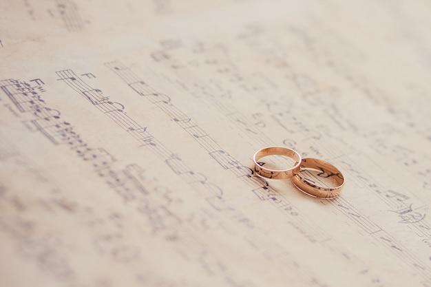 Wedding rings on a sheet of paper with notes in sharpness.