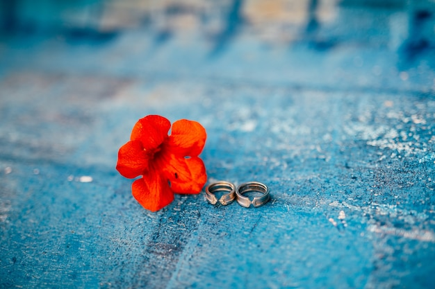 Wedding rings on a textured background