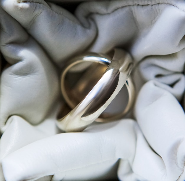 Wedding rings of white gold close up shot, wedding accessories