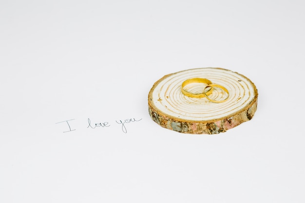 Wedding rings with a romantic message