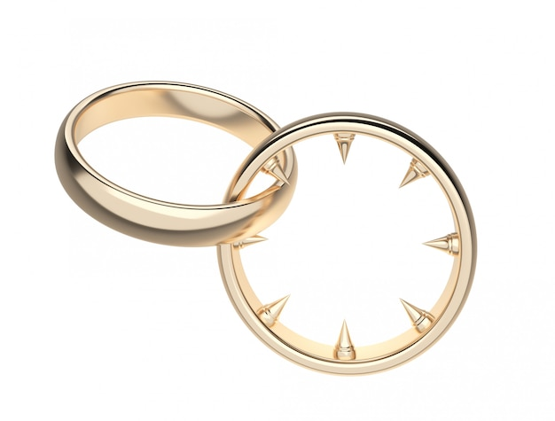 Wedding rings with sharp gold-colored tips.