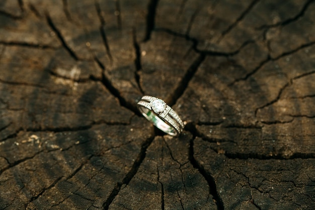 Wedding rings on wooden old background