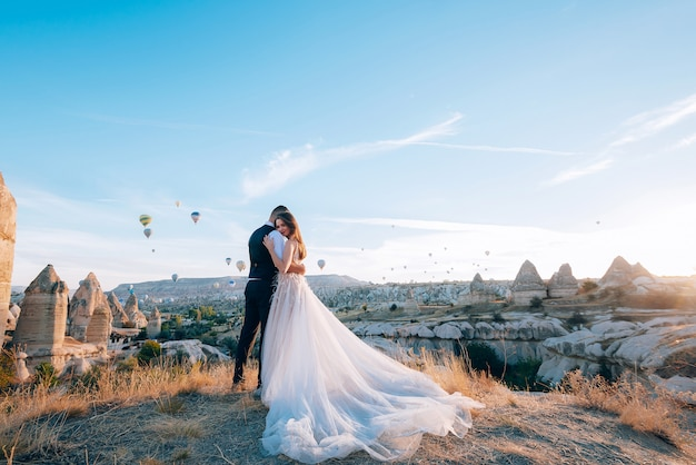 Wedding session in cappadocia turkey with hot air balloons