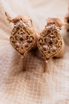 Wedding shoes decorated with gems