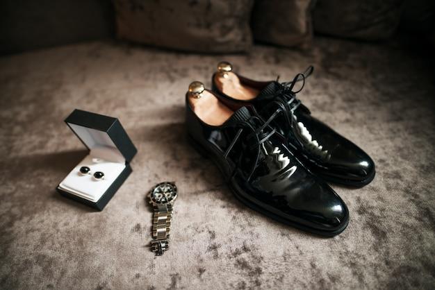 Wedding shoes, watch and cufflinks