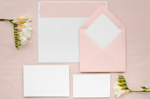 Wedding stationery set with flowers