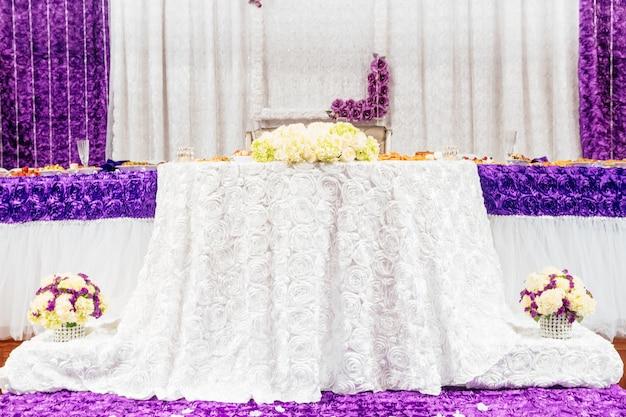 Wedding table fresh flowers on a wedding table