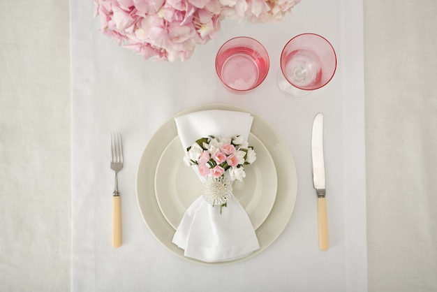 Wedding table served for the occasion