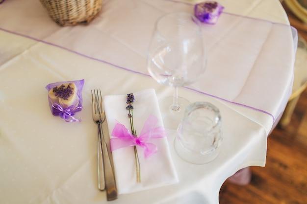 Wedding table setting at a banquet