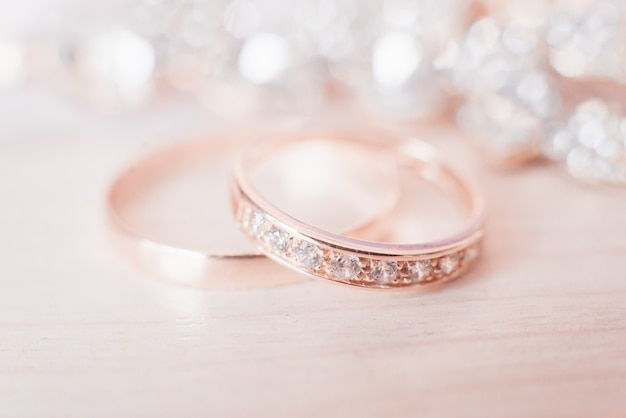 Wedding wedding rings on a light background
