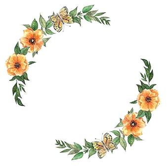 白に描かれた黄色い花と蝶と緑の葉の水彩画の結婚式の花輪