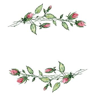 緑の葉と柔らかいピンクの花から白に描かれた結婚式の花輪の水彩画