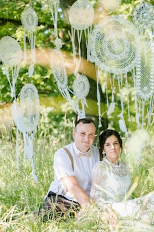 Wedding of a young beautiful couple in vintage style