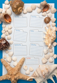 Weekly calendar in a marine style