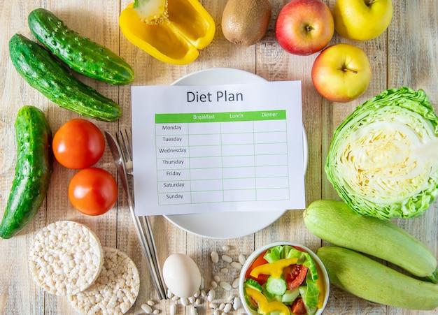 毎週のダイエット計画。適切な栄養の概念。セレクティブフォーカス。