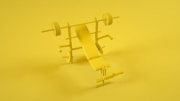 노란색 배경에 평평한 가슴에 대한 무게 벤치. 3d 그림.