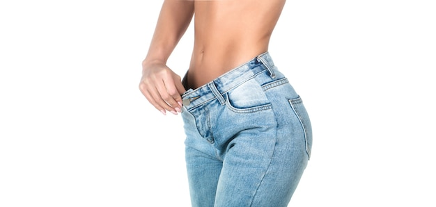 Weight loss concept. thin woman in big pants, weight loss concepts