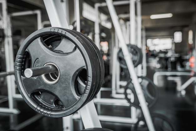Weight plates on barbell