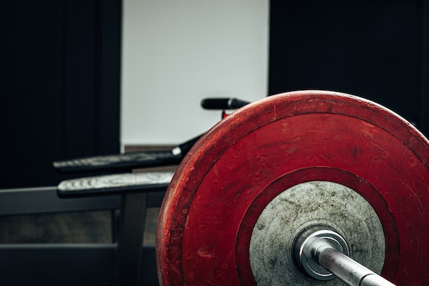 Weight plates in a gym, powerlifting equipment