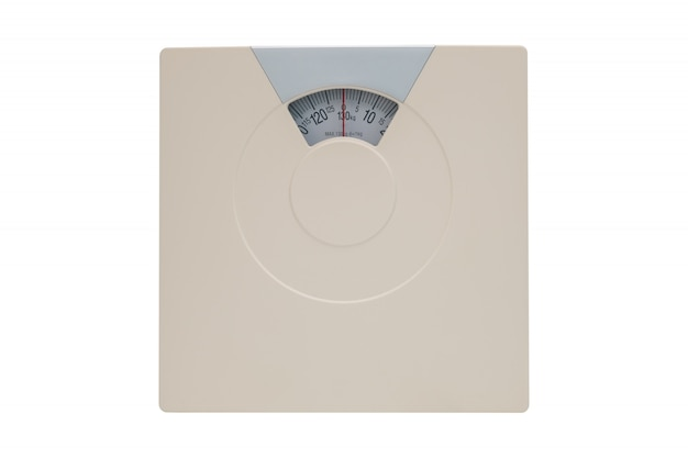 Weight scale or bathroom scale isolated on white