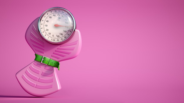 Weight scale diet pink