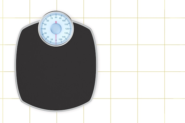 Weight scale floor on tile background. isolated 3d illustration
