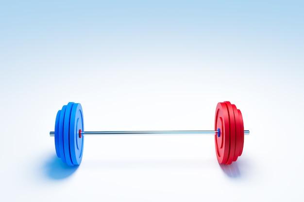 웨이트 트레이닝 및 근육 구축 장비, 파란색 및 빨간색 아령 3d 그림 렌더링