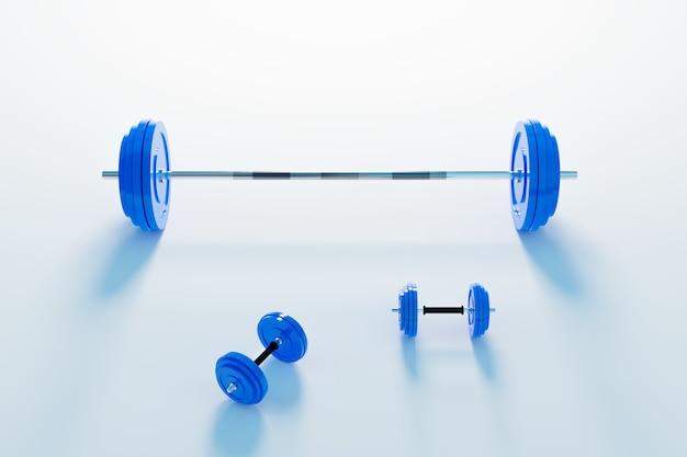 웨이트 트레이닝 및 근육 구축 장비, 블루 아령 3d 그림 렌더링