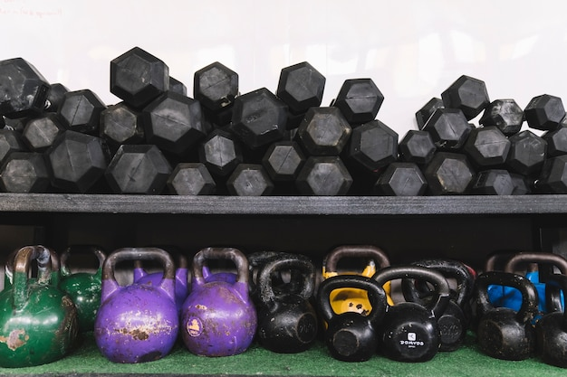 Weights and kettlebells in gym