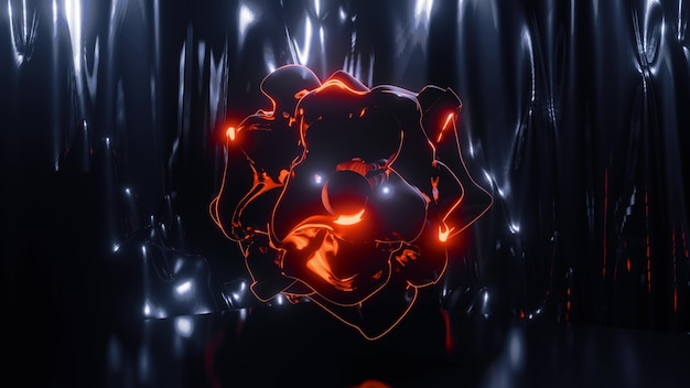 Weird fiery artificial object of unusual curved shape glowing in dark space with blue neon lights and distortions as abstract surreal background in 4k uhd 3d illustration