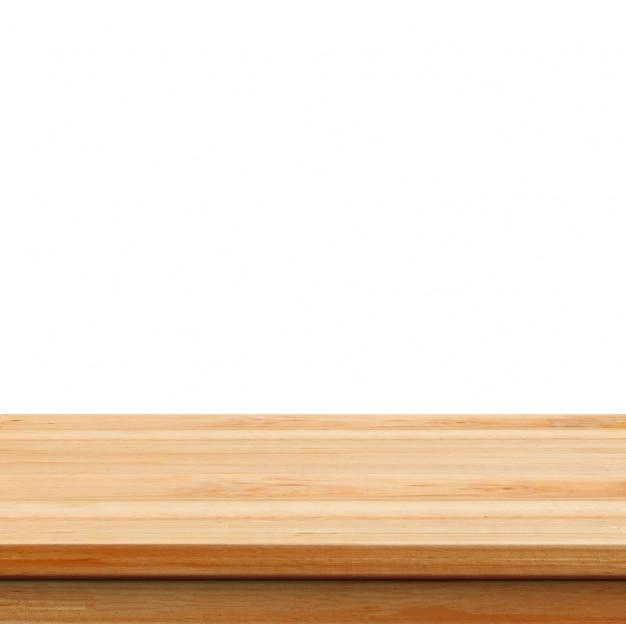 クローズアップクリア白い背景の上に木製のスタジオの背景 -  wel