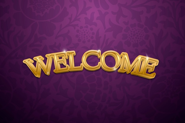 Welcome 3d text in gold fancy typography illustration
