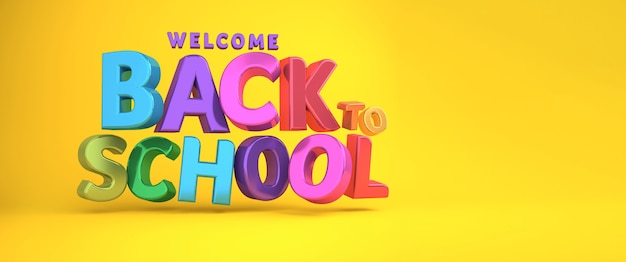 Welcome back to school banner colorful banner 3d rendering.