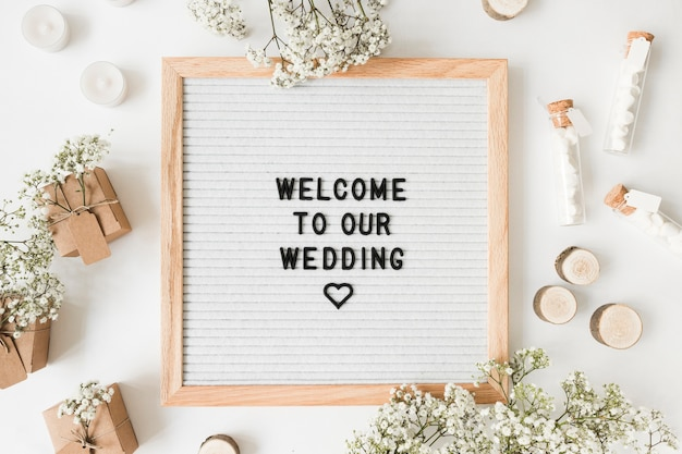 Welcome message and decoration for weddings on white background