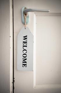 Welcome sign on door