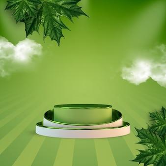Добро пожаловать весна 3d-рендеринг продукта подиум с зелеными кленовыми листьями