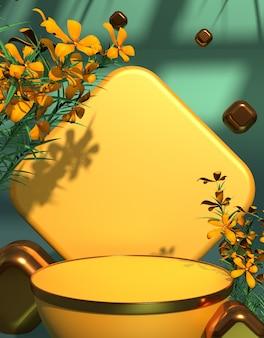 노란색 꽃 배경 3d 렌더링이 있는 환영 봄 제품 프레젠테이션 연단 무대