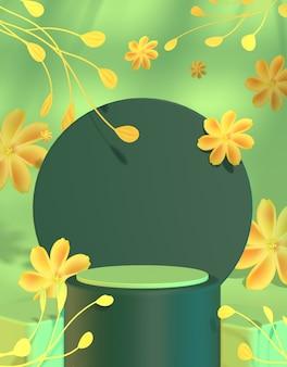 ようこそ春の製品プレゼンテーション表彰台ステージ黄色の花の背景3dレンダリング