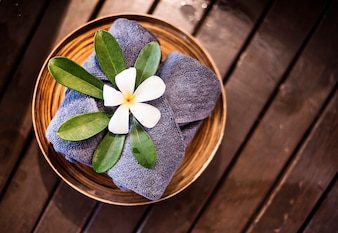 Welcome towels decorated with plumeria flowers