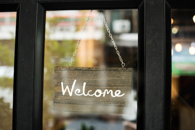 Welcome in wooden sign mockup