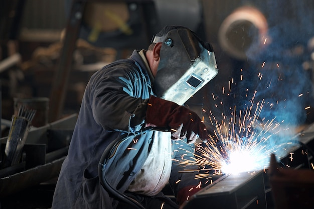 Welder man working and wearing a mask